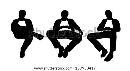 black and white silhouettes of a young handsome relaxed man seated in a lounge chair in different postures - stock photo