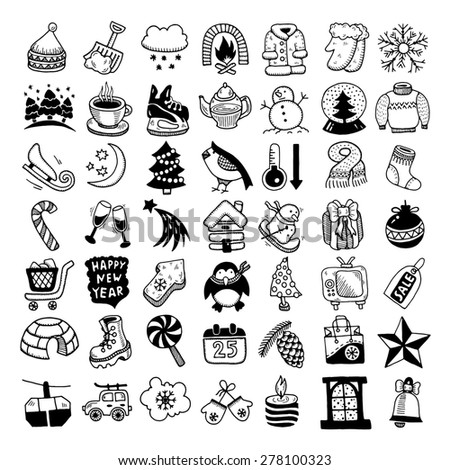 black and white sketch hand drawing winter icons set, raster version - stock photo