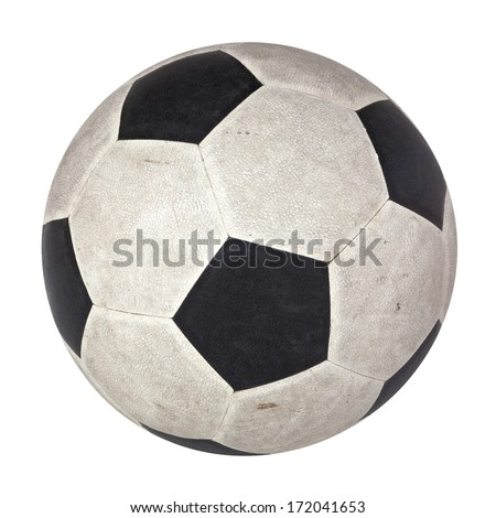 Black and white skin football or soccer ball, symbol of football game or sport, used soccer ball, old soccer ball, isolated. - stock photo