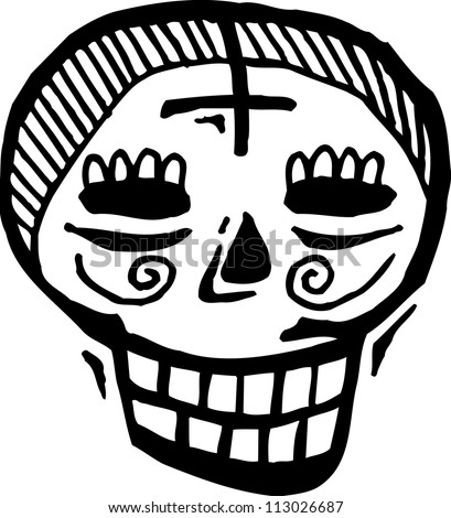 Black and white skull with cross on forehead - stock photo