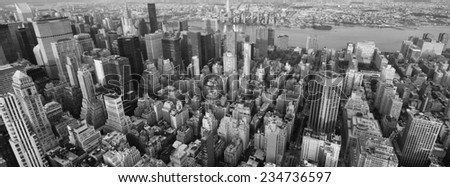 Black and white skyline of New York from the Empire State Building. - stock photo