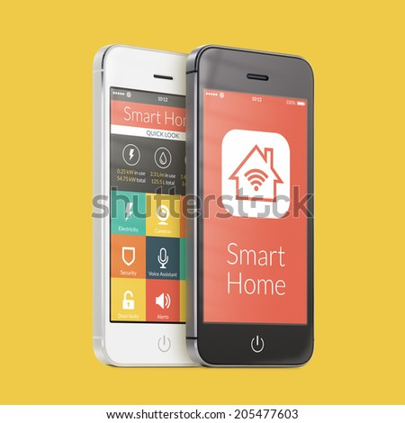 Black and white smartphones with smart home application on the screen on yellow. For access to all of the controls of your house, door locks, lights, thermostats and caring of home security. - stock photo