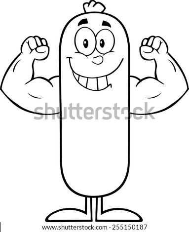 Black And White Smiling Sausage Cartoon Character Flexing. Raster Illustration Isolated On White - stock photo