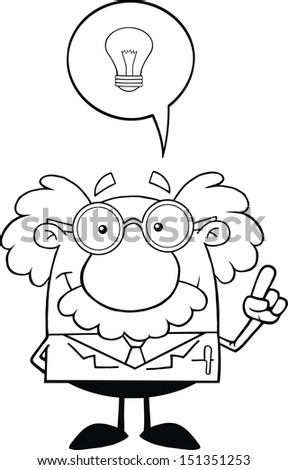 Black And White Smiling Scientist Or Professor With Good Idea. Raster Illustration - stock photo