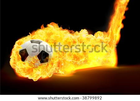 Black and white soccer ball in flames on black background - stock photo