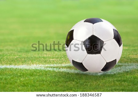 black and White Soccer ball on green meadow - stock photo