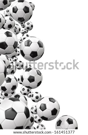 Black and White Soccer Balls , Copy space  - stock photo