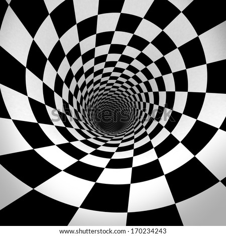 Black And White Spiral. 3d - stock photo