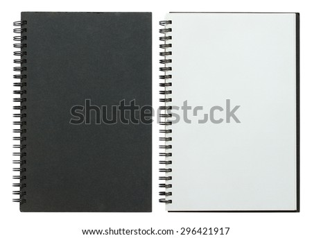 black and white spiral notebook isolated on white with clipping path - stock photo