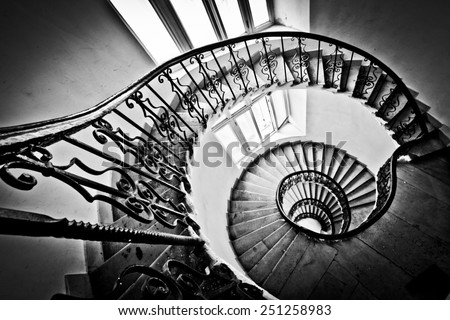 Black and white spiral staircase - stock photo