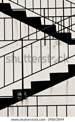 Black and White Staircase - stock photo