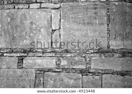 black and white stone wall - stock photo