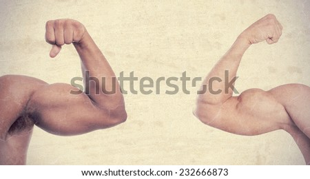 black and white strong arms - stock photo