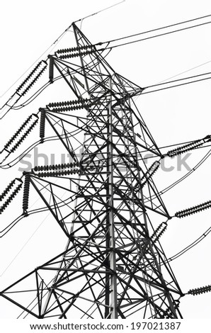 Black and white Structural of power transmission lines/ Structural of power transmission lines - stock photo