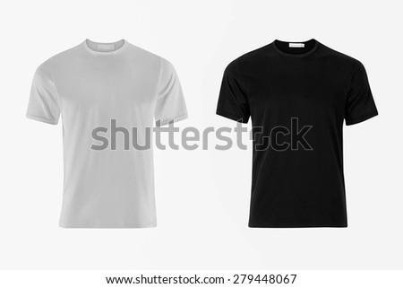 Black and White T-Shirt on White Background - stock photo