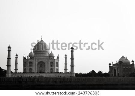 Black and white Taj Mahal Agra, Uttar Pradesh, India / Taj Mahal - stock photo