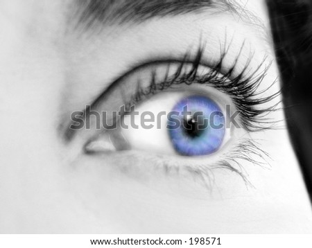 Black and white tinted close up of blue eye - stock photo