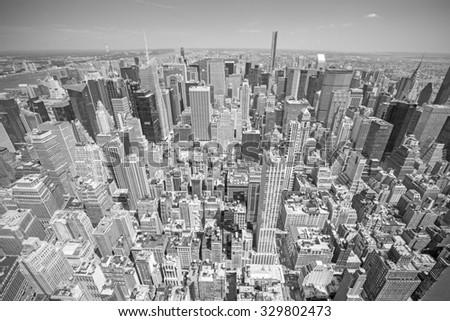 Black and white toned aerial view of Manhattan, New York City, USA. - stock photo