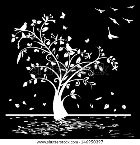 Black and white tree with birds and butterflies, vector format also available - stock photo