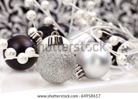 Black And White Trendy Christmas Ornaments, focus is on the front of the ornament - stock photo