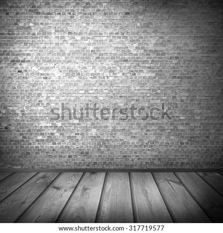 black and white urban background, brick wall texture and wooden floor abandoned interior grunge background for your concept or project - stock photo