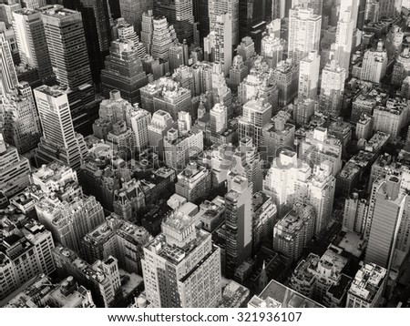 Black and white urban landscape of New York City - stock photo