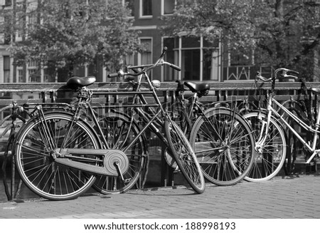 black and white view of Amsterdam - stock photo