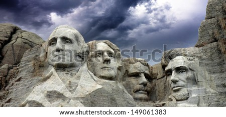 Black and White view of Mount Rushmore and Sky, U.S.A. - stock photo