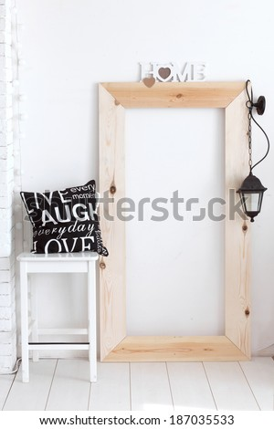 Black and white vintage interior decor in scandinavian style - stock photo