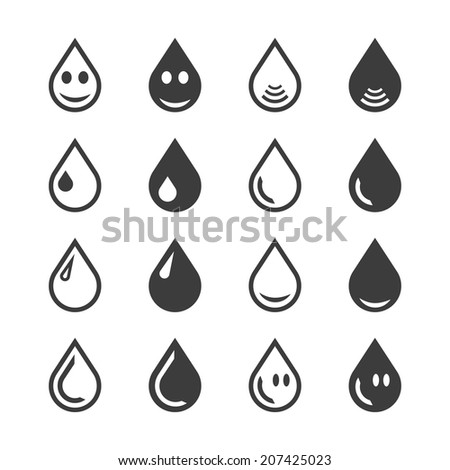 Black and white water or oil drop set on isolated background. Rasterized bitmap version. - stock photo