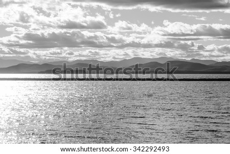 Black and white water scape - stock photo