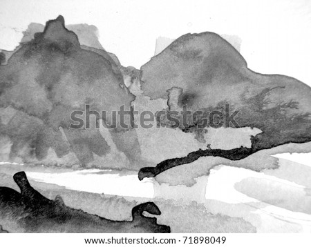 Black and White Watercolor Background 3 - stock photo