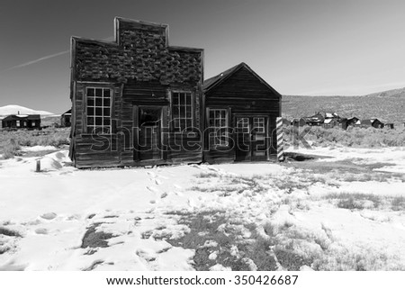 Black and white wild west ghost town, Bodie, California, USA. - stock photo