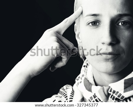 "Black and white woman portrait showing ""understanding"" in sign language - stock photo"