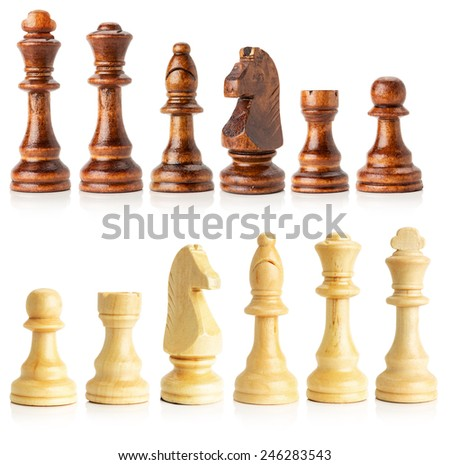 black and white wooden chess isolated on the white background - stock photo