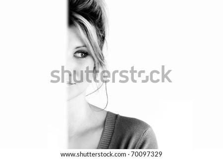 black and withe portrait - stock photo