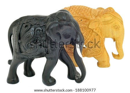 black and wooden elephant isolated over white. souvenir - stock photo