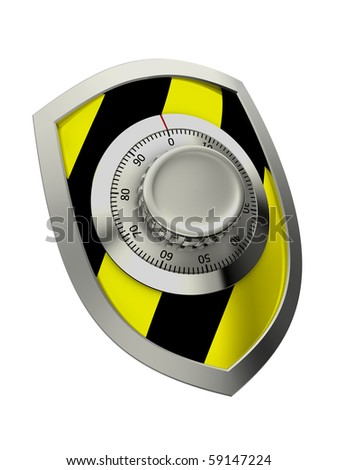 Black and yellow shield with combination lock - stock photo