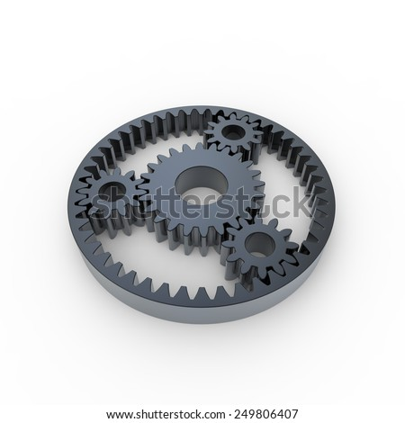 Black anodized steel planetary gears on a white background - stock photo
