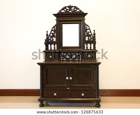 Black Antique Dressing Table with Mirror - stock photo