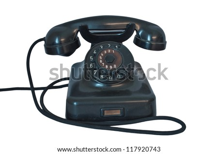 Black antique Telephone vintage style.Retro and classic - stock photo