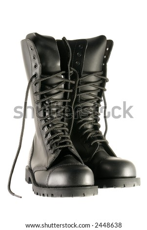 black army shoes isolated on white - stock photo