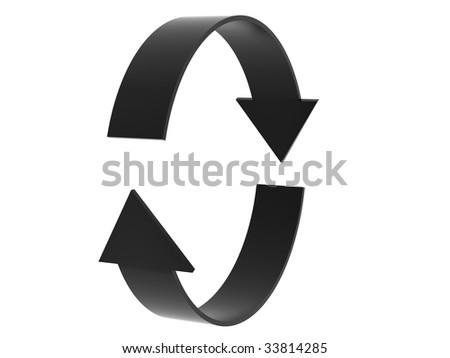 black arrows on a white background - stock photo