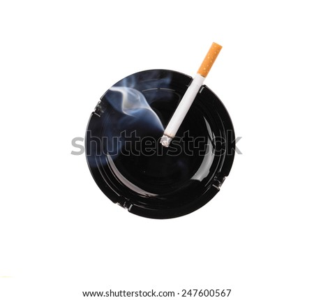Black ashtray and smoking cigarette. Isolated on a white background. - stock photo