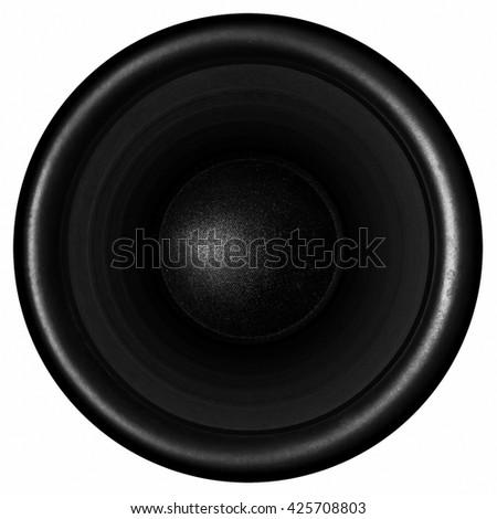 Black audio speaker isolated on white background - stock photo
