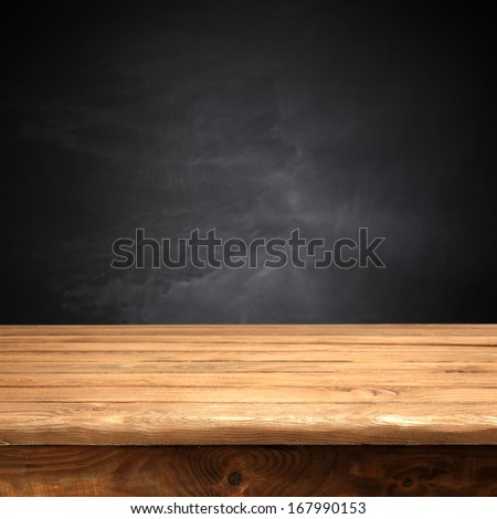 black background and desk  - stock photo