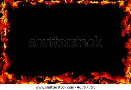 black background with fire frame on all 4 sides - stock photo