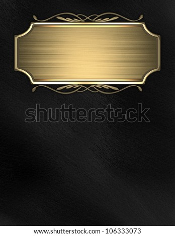 Black background with gold nameplate for writing - stock photo
