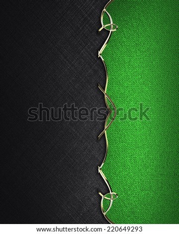 Black background with green edge with gold pattern. Design template. Design site - stock photo