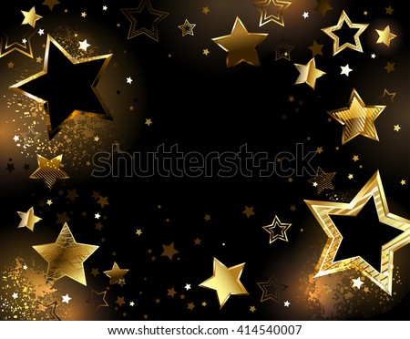black background with shiny gold stars.Design with stars. Golden Star.   - stock photo